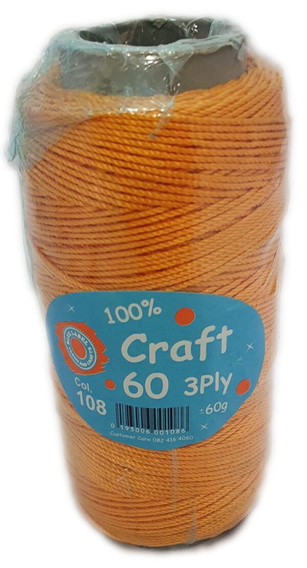CRAFT 60 3 PLY 60g-COL.108 GOLD 1