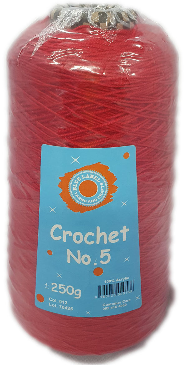 CROCHET No.5 CONE 250g-COL.13 RED 1