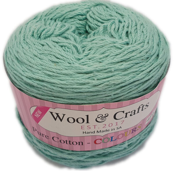 WOOL & CRAFTS PURE COTTON 4 PLY 100g-COL.019 DUCK EGG 1
