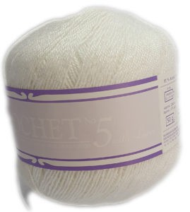 CROCHET No.5 WITH LUREX 50g-COL.001 NACRE 4