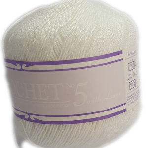 CROCHET No.5 WITH LUREX 50g-COL.001 NACRE 7