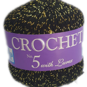 CROCHET No.5 WITH LUREX 50g-COL.017 BLACK SPARKLE 11