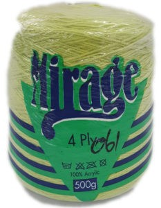 MIRAGE 4 PLY CONE 500g-COL.061 SOFT LIME 4