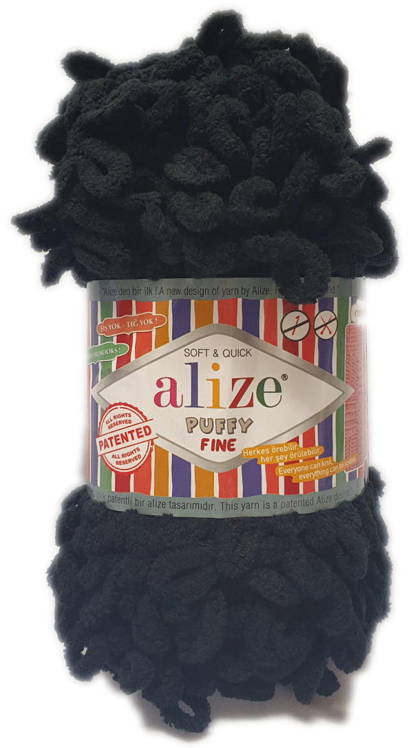 ALIZE PUFFY FINE 100g-COL.60 BLACK 1